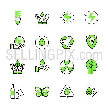 Alternative source energy green planet nature circulation recycling lineart flat vector icon set. Web site interface elements color line art mobile app aplication objects. Line-art icons collection.