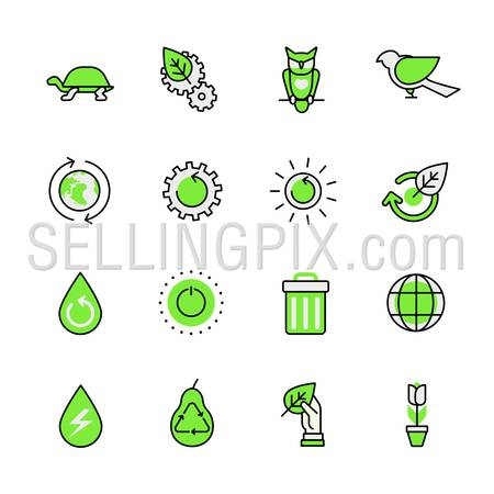Green planet nature ecology circulation links animal birds lineart flat vector icon set. Web site interface elements color line art mobile app aplication objects. Line-art icons collection.