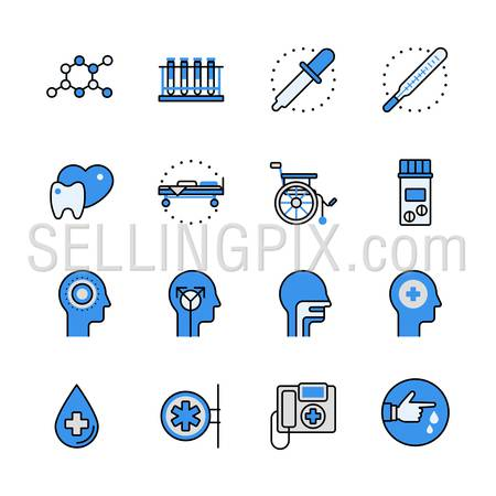 Health care medical help professional instrument science equipment lineart flat vector icon set. Web site interface elements color line art mobile app aplication objects. Line-art icons collection.
