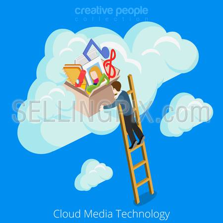 Cloud media technology concept design. Accumulation Business information conceptual web site vector illustration. Man climbing stairs storage of memories fun happy music photo notes on blue background