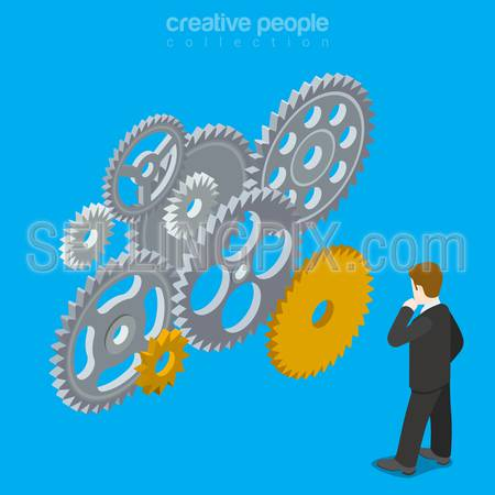 People brain gear vector concept. Man mind wheel thinking creative design illustration. Person think idea gears mechanism work business conception on blue background.