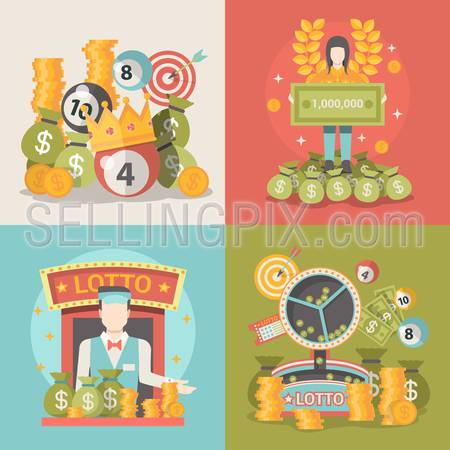 Lucky life concept vector illustration set. People success web site banner image. Fortune money bag rich woman. Lotto croupier man coins dollars wreath lotto ball infographics on color background.