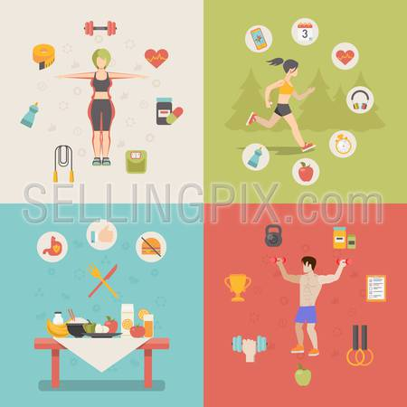Healthy life concept vector illustration set. People sports health farm fresh food web site banner image. Woman man running cup dumbbell skipping rope apple table Infographics.
