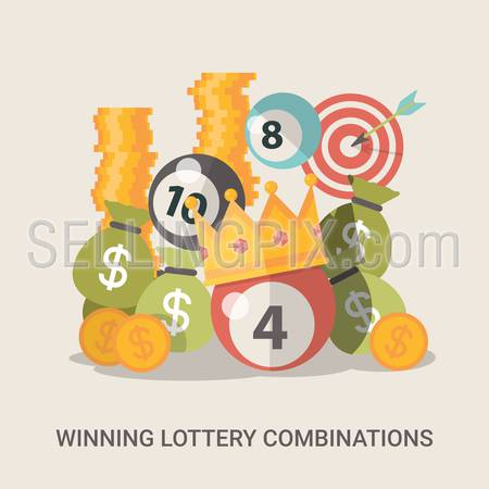 Success concept vector illustration. Flat style Lucky life web site banner image. Fortune money bag rich lotto coins dollars crown ball background. Winning lottery combination.
