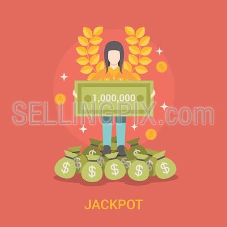 Lucky life concept vector illustration. Flat style Jackpot success web site banner image. Fortune money bag rich woman. Lotto coins dollars wreath lotto on red background.