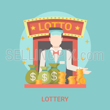 Lucky life concept vector illustration. Flat style lottery success web site banner image. Fortune money bag rich. Lotto croupier man coins dollars lotto on blue background.