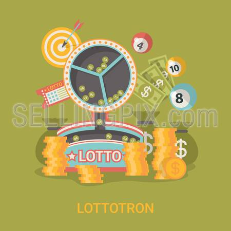Lucky life concept vector illustration. Flat style Lottotron success web site banner image. Fortune money rich. Lotto coins dollars ball on green background.
