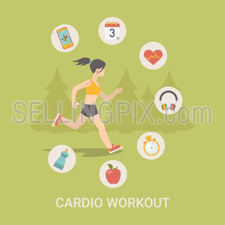 Healthy life concept vector illustration set. People sports health farm fresh food web site banner image. Woman workout Infographics on green spruce background.