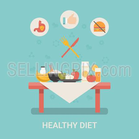 Healthy life concept vector illustration set. People sports health farm fresh food web site banner image. Diet Table Fruit dairy Infographics on blue background.