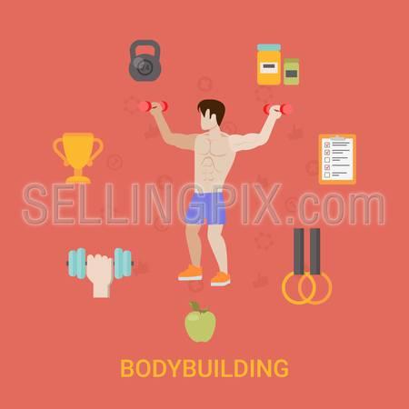Healthy life concept vector illustration set. Man bodybuilding sports health farm fresh food web site banner image. Bodybuilder cup dumbbell apple Infographics.
