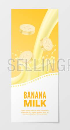 Sweet fruit milk vertical realistic banner 3d vector illustration. Business flyer with banana splash milk isolated on white background.