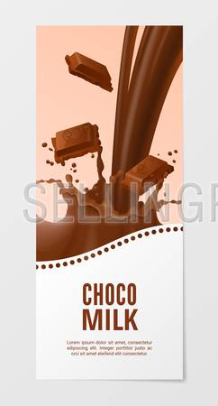 Sweet chocolate milk vertical realistic banner 3d vector illustration. Business flyer with choco splash milk isolated on white background.
