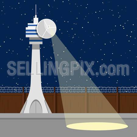 TV television mass media influence social consciousness awareness in Russia Russian Federation. Top secret isolated zone prison lantern blue starry sky background. Antenna lamp tower fence barbed wire