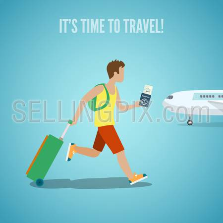 Time to travel agency web site flyer brochure vacation tourism vector illustration. Man with ticket in hand backpack and suitcase baggage running on plane. People visit countries cities landmarks.