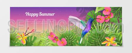 Happy summer time tourism creative template. Time to travel vacation agency web site flyer brochure vector illustration. Nature Bird humming-bird plant flower color background.