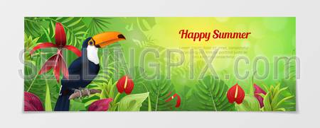 Happy summer time tourism template. Time to travel vacation agency web site flyer brochure vector illustration. Nature Bird parrot toucan plant flower color background.