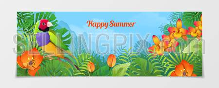 Happy summer time tourism template. Time to travel vacation agency web site flyer brochure vector illustration. Nature Bird finches plant flower color background.