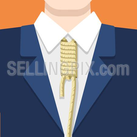 Businessman in suit shirt and rope tie on orange background. Business concept vector flat style illustration. Node shackles on man's neck.