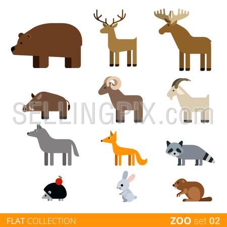 Cool flat design trendy style vector animals icon set. Flat zoo children wild farm domestic animal cartoon collection. Coypu bear doe deer boar ram goat wolf fox raccoon hedgehog rabbit hare nutria.