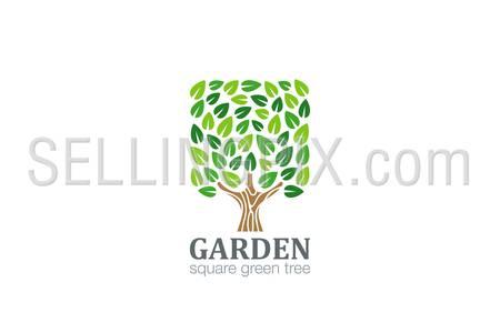 Green Tree Logo Square shape design vector template. Eco Farm Logotype. Garden icon.