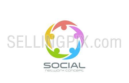 Social Network Logo design vector template. Team circle icon. Teamwork community friendship logotype creative idea.