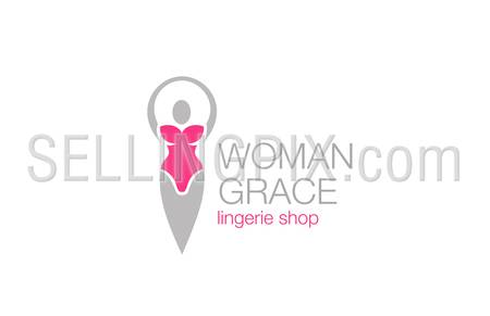 Woman grace fitness diet logo design vector template. Ballet dancer.