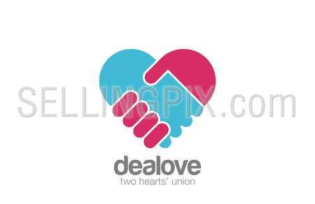 Logo Handshake Heart shape design vector template.