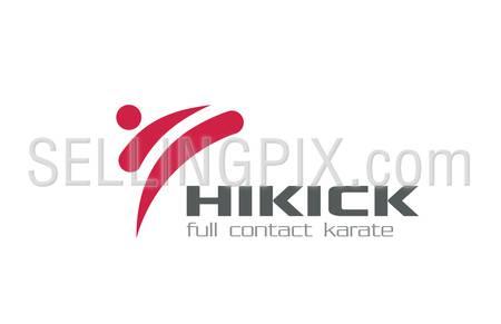 Karate Martial arts Logo design vector template. Kick-boxing logotype concept. High Kick character abstract icon.