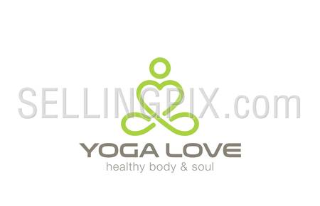 Yoga Logo design vector template. Heart shape inside. Like Love yoga concept icon. Meditation SPA Logotype.