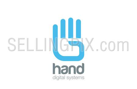 Hand Logo design vector template.  Digital Creative touch Logotype concept icon.