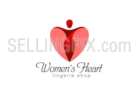 Lingerie shop logo design vector template. Heart Valentine day concept.