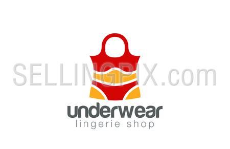 Shopping Bag Lingerie shop logo design vector template. Underwear logotype. Creative concept icon.