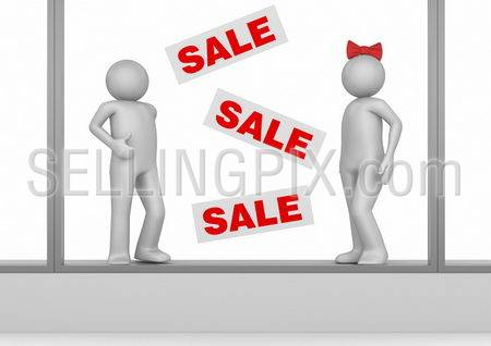 SALE – Mannequins in shop window – Shopping collection