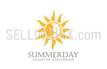 Sun Logo design vector template. Day Night Sun Moon Logotype concept icon.