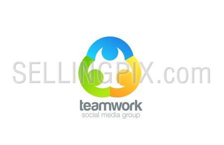 Social Logo design vector template. Teamwork logotype. Family concept icon. Friendship, Partnership, Community idea.