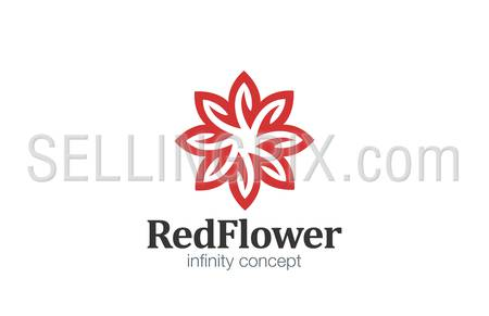 Logo Flower abstract infinity loop design vector template.