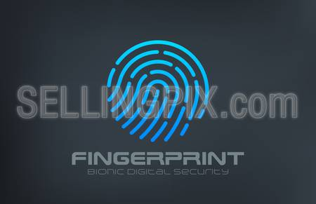 Fingerprint Logo Touch Security design vector template.