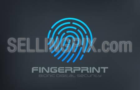 Fingerprint Logo Touch Security design vector template. Biometric Access Scan Application Logotype. App icon concept.