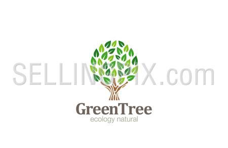 Green Tree Logo Abstract Circle shape design vector template. Eco Green Farm Garden Logotype concept icon.