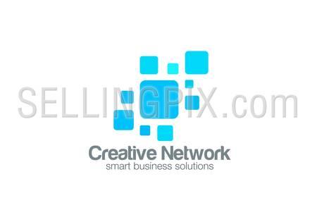 Social Network Logo abstract design vector template. Square interface Logotype concept icon