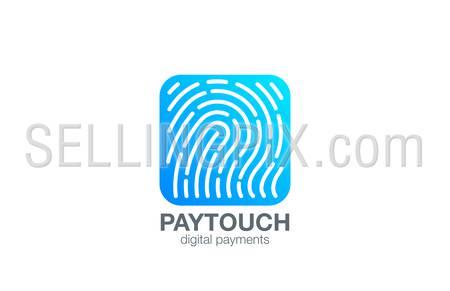 Fingerprint Logo Touch Security design vector template Square shape. Biometric Access Scan Application Logotype. App icon concept.