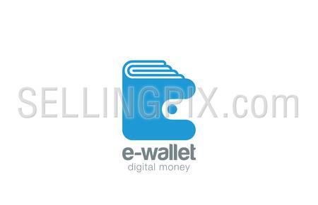 Wallet Logo design vector template negative space style. Pocketbook logotype. Purse Portfolio icon. Digital money concept.