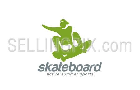 Skateboard logo design vector template. Active sport icon. Skater jumping logotype. Skateboarding man abstract extreme concept.