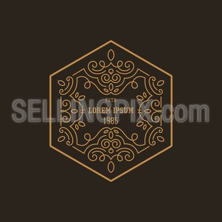 Vintage Luxury Logo design hexagon shape template flourish calligraphic elegant. 