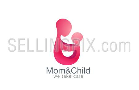 Mother holding hands with child logo design vector template. Family Logotype concept icon.