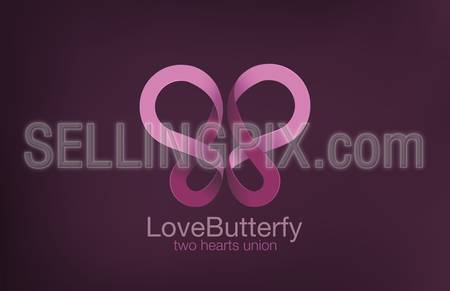 Butterfly Logo two Hearts crossing design vector template.