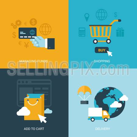 Flat design vector illustration concept process icons set of online sale shopping delivery internet trade. Shopping carts, payments, global delivery. Big flat processes collection.