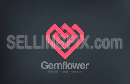 Fashion Luxury Flower Heart Logo design vector template.