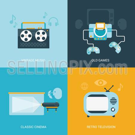 Flat design vector illustration concept retro vintage set of electronics and entertainment. Reel tape player, old game console, classic projection cinema, retro television tv set. Big flat collection.