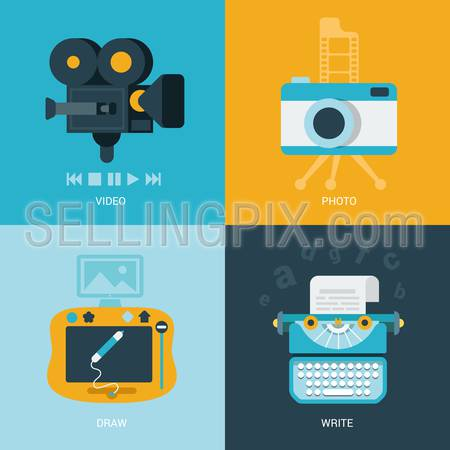 Flat design vector illustration concept retro vintage set of electronics and entertainment. Camera, draw pad, typewriter. Big flat processes collection.